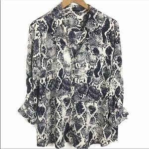 3/$25 The Limited Button-Down Blouse Snake Print